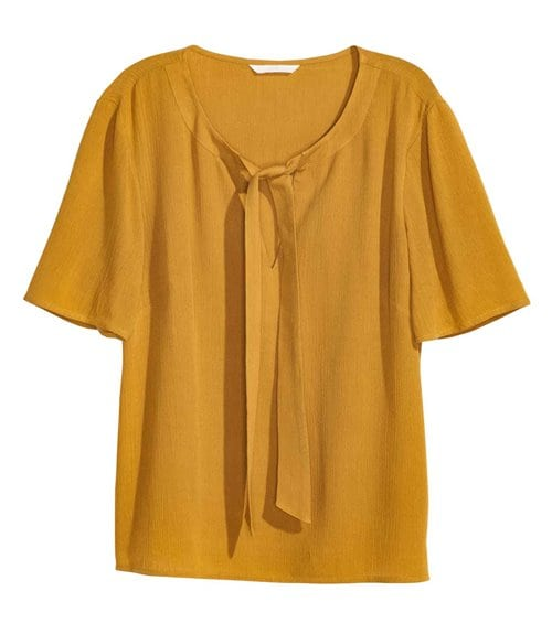 HM Crinkled Tie Neck Blouse 14.99