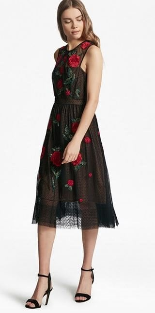 French Connection Amore Sparkle Embroided Tulle Dress 195