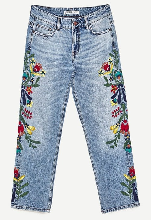 Zara Mid rise Jeans with Floral Embroidery 39.99