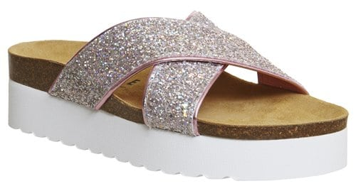 Office Warner Strap Footbeds Pink Holographic Glitter 32