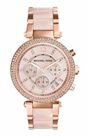 Ernest Jones Michael Kors Ladies Rose Gold Tone Bracelet Watch 229