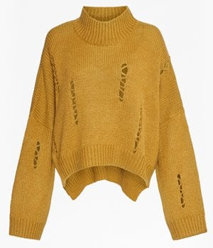 French Connection Nixo Knit Distressed High Neck Jumper 75