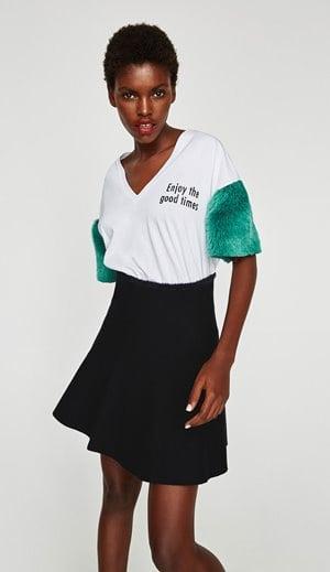 Zara Contrasting Faux Fur T Shirt 15.99