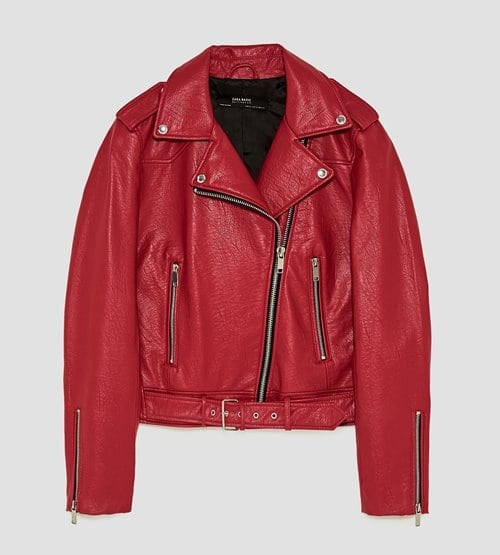 Zara Dark Red Leather Effect Jacket 49.99