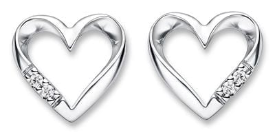 Goldsmiths 9ct White Gold Diamond Heart Stud Earrings 200