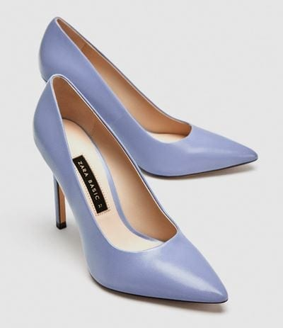 Zara Lilac High Heel Leather Court Shoes 49.99