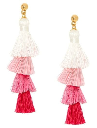 Claires Pink Ombre Tiered Tassel Drop Earrings 8 bh