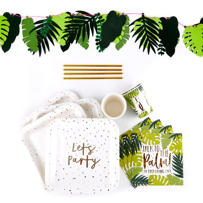 Tropical Party Tableware & Decorations Bundle - Card Factory - £11.99